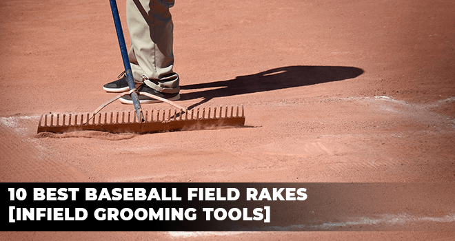 Peron using a rake to prepare a baseball field